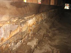 Drainage problems, Failed brick foundation